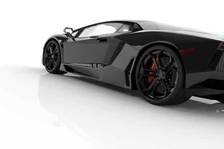 shiny black: Black fast sports car on white background studio. Shiny, new, luxurious. 3D rendering Stock Photo