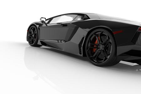 Czarny samochód szybki sportowy na białym tle studio. Błyszczące, nowe, luksusowe. renderowania 3D Zdjęcie Seryjne