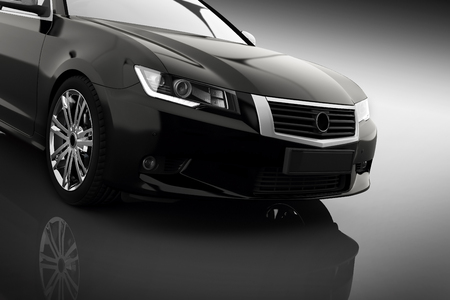 Modern black metallic sedan car in spotlight. Generic desing, brandless. 3D rendering.