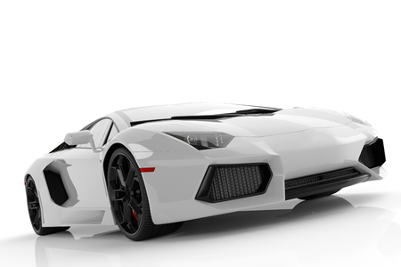 White metallic fast sports car on white background studio. Shiny, new, luxurious. 3D rendering Banco de Imagens