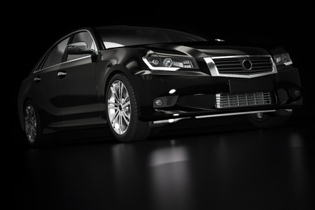 Modern black metallic sedan car in spotlight. Generic desing, brandless. 3D rendering. Stock Photo - 64703060