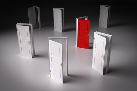 better chances: Red door among other white ones. Concepts of decision making, different opportunities etc. 3D illustration Stock Photo