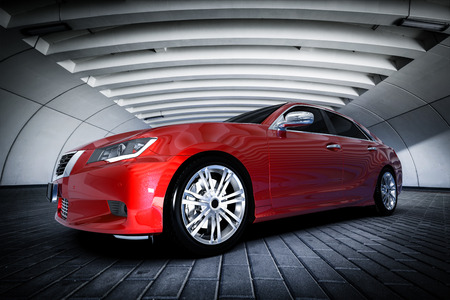 Modern red metallic sedan car in urban setting - tunnel. Generic desing, brandless. 3D rendering.