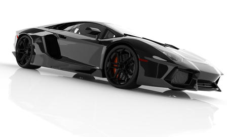 Black fast sports car on white background studio. Shiny, new, luxurious. 3D rendering 写真素材