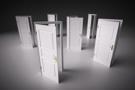 Viele Möglichkeiten zur Auswahl, offenen Türen. Konzepte der Entscheidungsfindung, verschiedene Möglichkeiten usw. 3D-Darstellung