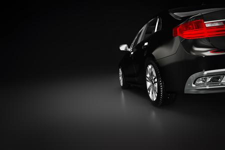 스포트 라이트에서 현대 검은 금속성 세단 자동차. 일반적인 desing, brandless. 3D 렌더링입니다.