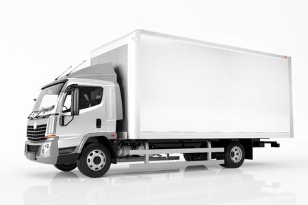 Commerciële lading levering vrachtwagen met lege witte trailer. Geïsoleerde, generieke, merkloze ontwerp van voertuigen. 3D-rendering