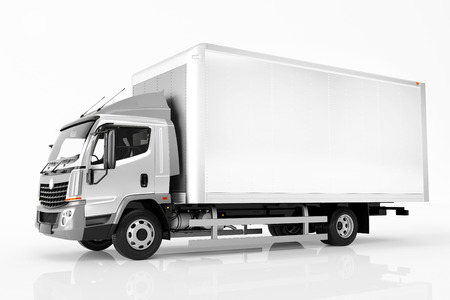 Commercial cargo delivery truck with blank white trailer. Isolated, generic, brandless vehicle design. 3D rendering Archivio Fotografico