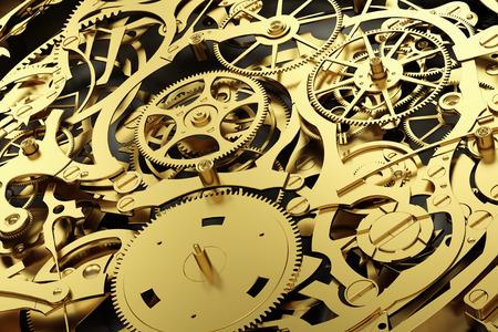 Mecanismo de oro, reloj con engranajes de trabajo. Primer plano, detallado. Representación 3D Foto de archivo
