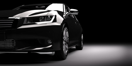 スポット ライトでモダンな新しい黒い金属のセダン車。一般的な現代設計、brandless。3 D レンダリング。