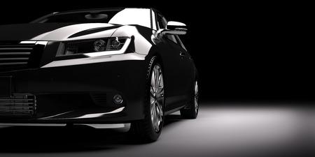 Moderne nieuwe zwarte metallic sedan auto in de schijnwerpers. Generic eigentijds design, brandless. 3D-rendering. Stockfoto