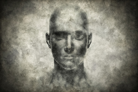 Human face portrait on grunge paper. Science concept. 3D rendering 免版税图像