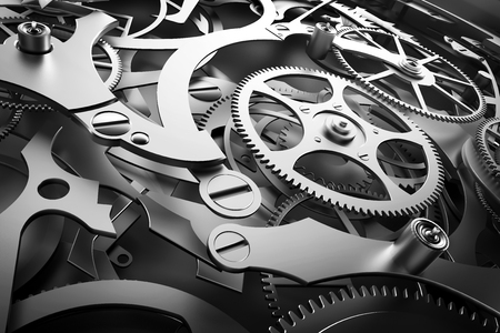 Inside mechanism, clockwork with working gears. Close-up, detailed. 3D rendering Standard-Bild