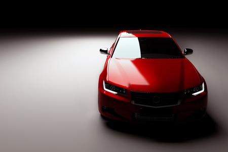 Modern new red metallic sedan car in spotlight. Generic contemporary desing, brandless. 3D rendering.