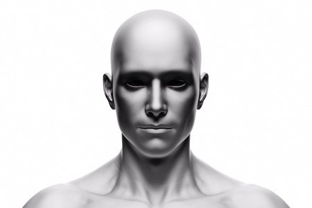 Generic human man face, front view. Futuristic mood, concepts of virtual reality etc. 3D rendering Stockfoto