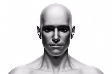 Visage d'homme humain générique, vue de face. Humeur futuriste, concepts de réalité virtuelle, etc. Rendu 3D Banque d'images