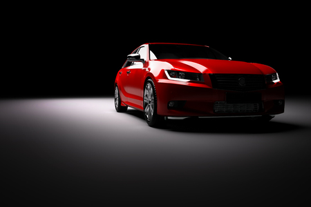 Modern new red metallic sedan car in spotlight. Generic contemporary desing, brandless. 3D rendering.