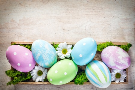 easter flowers: Easter decoration - eggs and flowers on a wood. Holiday time Stock Photo