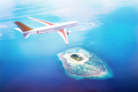 Airplane flying over Maldives islands on Indian Ocean. Travel, vacation time, transportation concepts. Aearial view, 3D illustration