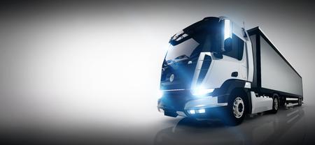 長いトレーラーをプロの貨物配送トラック。バナー、名刺組成。汎用的な brandless の車両デザイン。3 D レンダリング