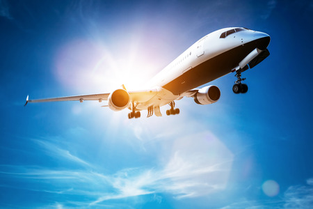 Passenger airplane taking off, sunny blue sky. Aircraft, airline transportation industry. 3D illustration