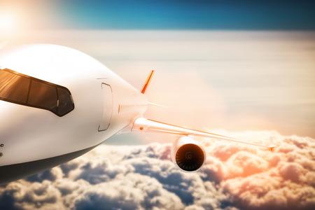 turbine engine: Passenger airplane flying at sunshine, blue sky. Aircraft, airline transportation industry. 3D illustration Stock Photo