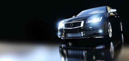 Moderne zwarte metalen sedan auto in schijnwerpers, banner samenstelling. Generiek design, zonder merk. 3D-rendering.