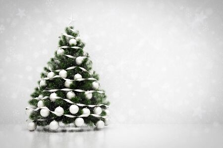 minimalistic: Christmas tree decoration on clean white background with snowing and glitter effect. 3D rendering
