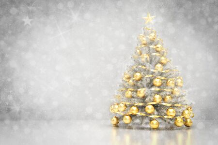 christmas backdrop: Christmas tree decoration on clean white background with snowing and glitter effect. 3D rendering