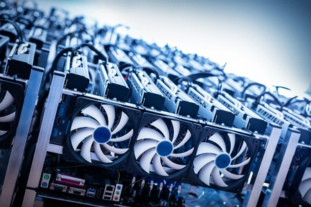 Big IT machine with fans. Cryptocurrency business. Bitcoin mining farm