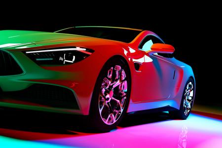 Coche cupé moderno con focos de colores sobre un fondo negro. Vista frontal. Ilustración 3D. Carros de lujo.