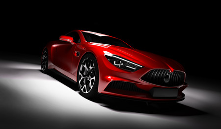 Modern red sports car in a spotlight on a black background. Front view. 3D render. Luxury cars.