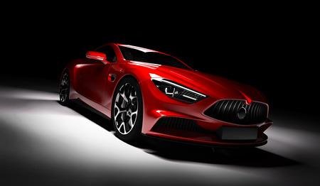 Moderna vettura sportiva rossa sotto i riflettori su uno sfondo nero. Vista frontale. Rendering 3D. Macchina di lusso. Archivio Fotografico