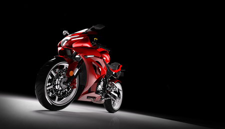Front view of red sports motorcycle in a spotlight on a black background. 3D render. Brandless motorbike. Stock Photo