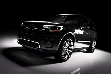 Modern black SUV car in a spotlight on a black background. Front view. 3D illustration. Luxury cars. Stock Photo