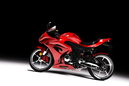 Side view of red sports motorcycle in a spotlight on a black background. 3D render. Brandless motorbike.