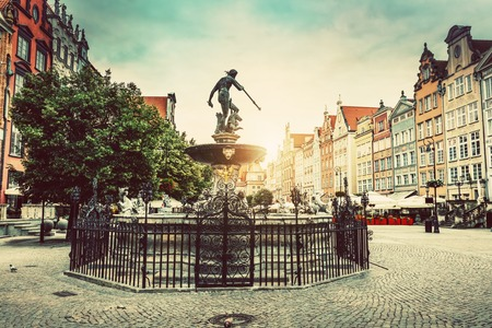 Neptunes fountain in the Old Town of Gdansk. Architecture and monuments. Poland.