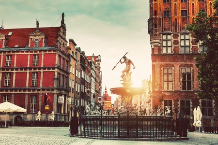 Neptune statue and fountain and Old Town architecture in Gdansk, Poland