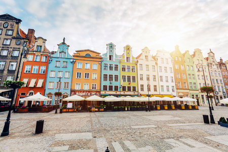 Old colorful tenement buildings located in Gdansk, Poland. Architecture.