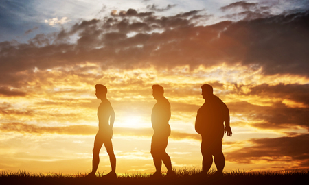 Three men silhouettes with different body types on a sunset sky. Body shape transformation and healthcare. 3D illustration.