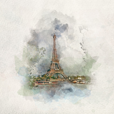 Eiffel Tower in Paris, France in watercolor painting. World's most famous cities and tourist spots.