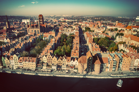 Aerial landscape of Old Town in Gdansk, Poland. Medival Polish architecture.