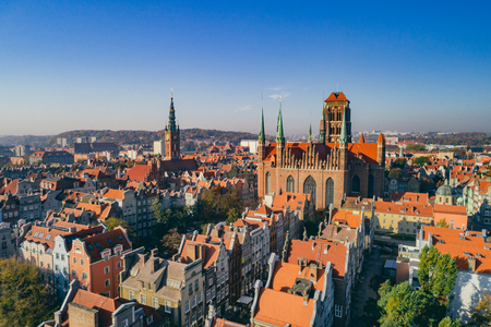 Aerial view of Old Town in Gdansk, Poland. Historical Polish buildings.