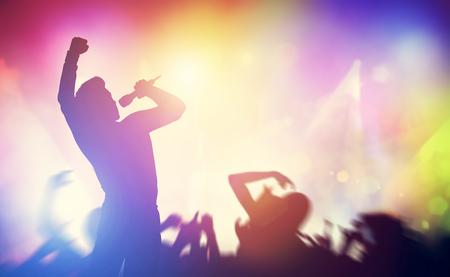 Singer singing on stage on a concert. Entertainment industry, artist, performance. 3D illustration. Stock Photo