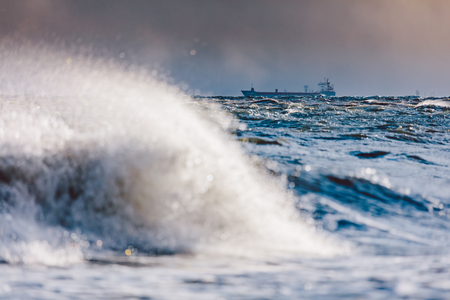 Stormy waves on the sea. Natural phenomenon. Baltic Sea in Gdynia, Poland.