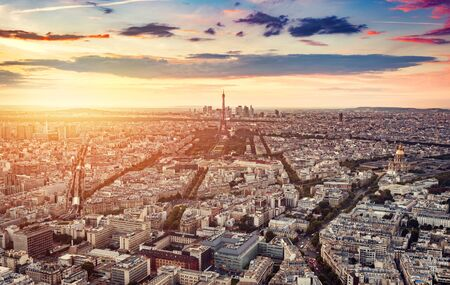 Paris, France at sunset, aerial view. Popular european travel destinations. Capital cities.
