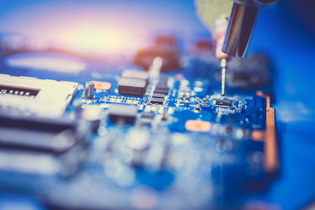 CPU board of a computer in a close-up. IT engineering, modern technologies. Hardware. Stock Photo
