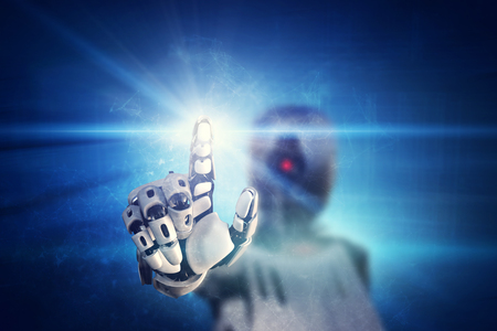 Robot clicking on virtual light button on modern blue background. Artificial intelligence. Advanced modern technology.