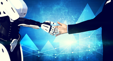 Robot and businessman shaking hands on modern tech background. New technologies. Artificial intelligence. 3d illustration Stock Photo