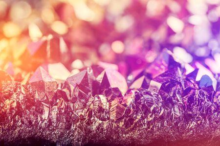 Mineral gemstone - rainbow aura crystal quartz. Light flare shining Stock Photo